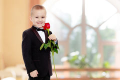 有玫瑰花的小男孩 免版税库存图片