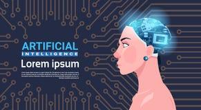 有现代靠机械装置维持生命的人脑子的女性头在电路主板人工智能概念 向量例证