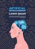 有现代靠机械装置维持生命的人脑子的女性头在电路主板背景垂直的横幅人工智能概念 向量例证
