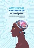 有现代靠机械装置维持生命的人脑子的女性非裔美国人的头在人为电路主板背景垂直的横幅 库存例证