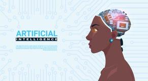 有现代靠机械装置维持生命的人脑子的女性非裔美国人的头在电路主板背景人工智能 库存例证