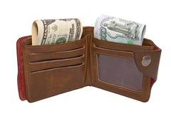 有现金的钱包 免版税库存图片