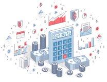 有现金金钱的计算器堆积并且铸造在白色背景隔绝的堆,财政概念 3d等量传染媒介的事务 向量例证