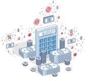 有现金金钱的计算器堆积并且铸造在wh隔绝的堆 库存例证