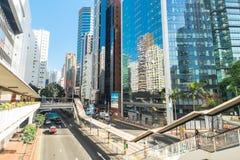 有现代摩天大楼的香港市 库存照片