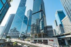 有现代摩天大楼的香港市 图库摄影