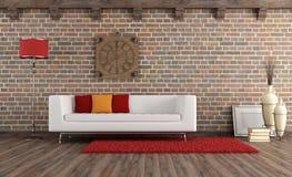 有现代长沙发的葡萄酒客厅 向量例证