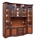 有玻璃门的木碗柜 图库摄影