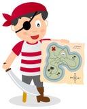 有珍宝地图的海盗 库存图片