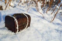 有珍珠的小箱 库存照片