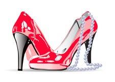 有珍珠项链的妇女红色鞋子 向量例证