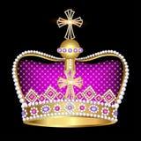 有珠宝的皇家冠在黑背景 免版税库存照片