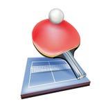 有球和领域的网球拍 库存图片