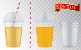 有球形圆顶盖帽的清楚的塑料杯子奶昔的和柠檬水和圆滑的人 皇族释放例证