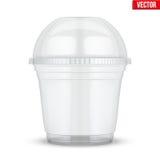 有球形圆顶盖帽的清楚的塑料杯子 库存例证