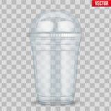 有球形圆顶盖帽的清楚的塑料杯子 向量例证