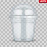 有球形圆顶盖帽的清楚的塑料杯子 皇族释放例证