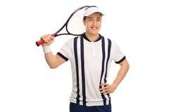有球拍的愉快的网球员 免版税库存照片