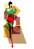 有球拍的年轻网球员 免版税库存图片