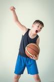 有球的一个男孩 免版税库存照片