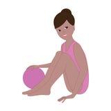 有球的女孩体操运动员坐 免版税库存图片