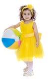有球的女孩 图库摄影