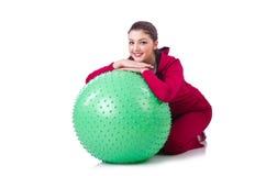 有球的少妇 免版税库存图片