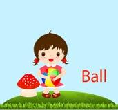 有球的甜女婴 免版税库存照片