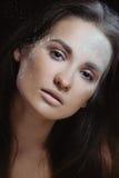 有理想的皮肤的新美丽的妇女在本质构成粉末 库存照片