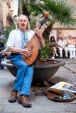 有琵琶的街道音乐家在巴塞罗那 库存图片