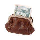 有瑞典钞票的钱包 库存图片