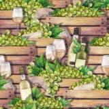 有瓶、杯白葡萄酒和白葡萄的水彩木箱 库存照片