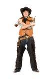 有瓶和枪的愉快的牛仔 免版税库存图片