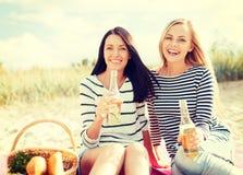 有瓶的女朋友在海滩的啤酒 免版税库存图片