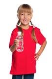 有瓶的小女孩水 库存照片