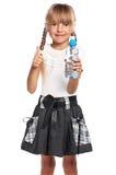 有瓶的小女孩水 图库摄影