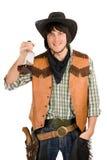 有瓶的愉快的新牛仔 免版税库存图片