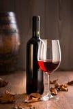 有瓶的葡萄酒杯 免版税图库摄影