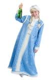 有瓶的醉酒的圣诞节女孩香槟 免版税库存照片