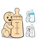有瓶的婴孩 免版税库存照片