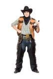 有瓶的傻笑的牛仔 免版税库存照片