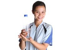 有瓶装水的IV女性 免版税库存图片