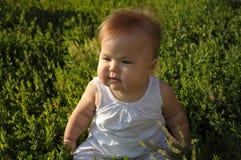 有甜肥胖面颊的小婴孩 库存图片