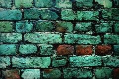 有生长在它外面的青苔的砖墙 免版税库存照片