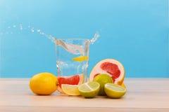 有用和水多的柑橘,其次那里是与水和切片的一块玻璃柠檬 侧视图 里面 免版税库存照片