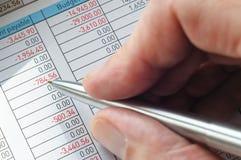 有用手笔举行的会计模块 免版税库存图片