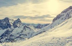 有用早期的雪报道的峰顶的壮观的冬天山全景 免版税库存图片