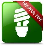 有用的技巧电灯泡象绿色正方形按钮 免版税库存照片