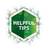 有用的技巧花卉植物样式绿色六角形按钮 库存例证