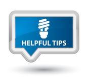 有用的技巧(电灯泡象)填装蓝色横幅按钮 免版税库存图片